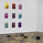 Noughts & Crosses,  installation, aluminum prints, tires, lug wrenches, chains, 2019